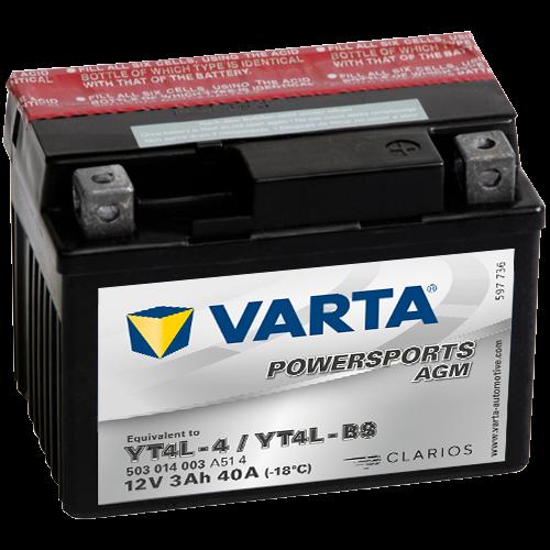 Varta Powersports AGM YT4L-BS  12V 3Ah 30A jobb+ motorakkumulátor (503 014 003 A51 4)