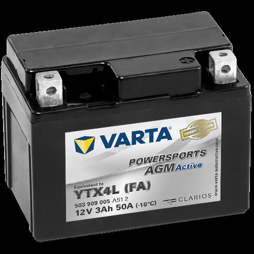 Varta Powersports AGM Active YTX4L-4  12V 3Ah 50A jobb+ gyárilag üzembehelyezett motorakkumulátor (503 909 005 A51 2)