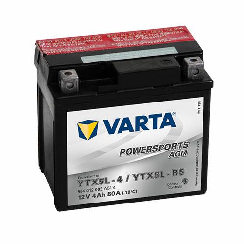 Varta Powersports AGM YTX5L-BS  12V 4Ah 80A jobb+ motorakkumulátor (504012003A514)