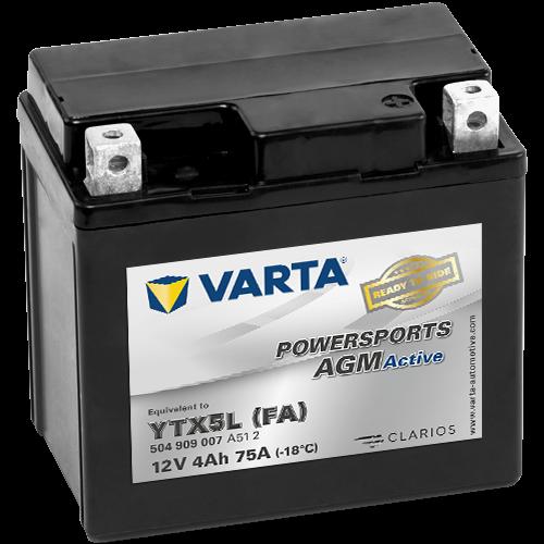 Varta Powersports AGM Active YTX5L-4  12V 4Ah 30A jobb+ gyárilag üzembehelyezett motorakkumulátor (504 909 007 A51 2)