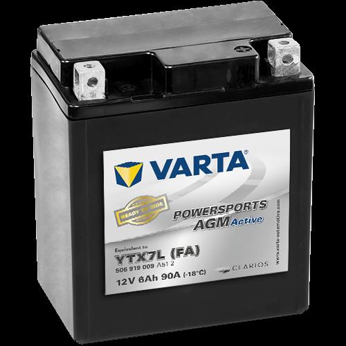 Varta Powersports AGM Active YTX7L-4  12V 6Ah 50A jobb+ gyárilag üzembehelyezett motorakkumulátor (506 919 009 A51 2)
