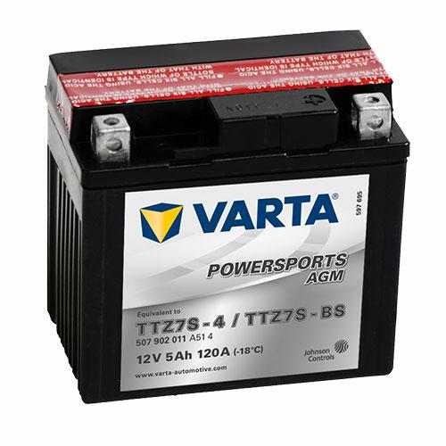 Varta Powersports AGM TTZ7S-BS  12V 5Ah 120A jobb+ motorakkumulátor (507902011A514)