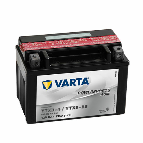 Varta Powersports AGM YTX9-BS  12V 8Ah 135A bal+ motorakkumulátor (508012008A514)