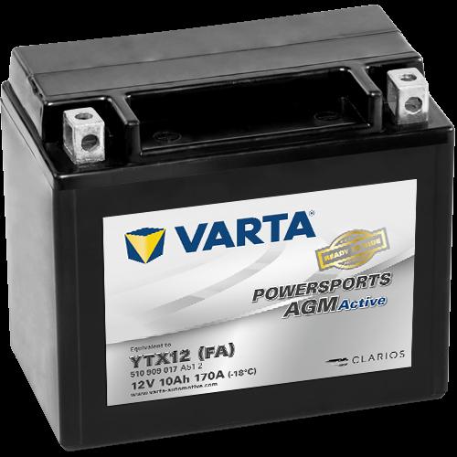 Varta Powersports AGM Active YTX12-4  12V 10Ah 90A bal+ gyárilag üzembehelyezett motorakkumulátor (510 909 017 A51 2)