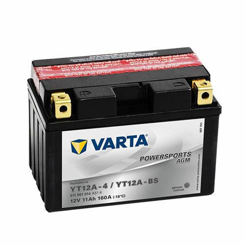 Varta Powersports AGM YT12A-BS  12V 11Ah 160A bal+ motorakkumulátor (511901014A514)