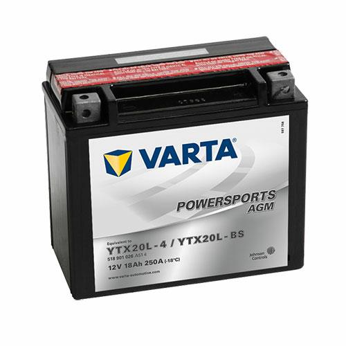 Varta Powersports AGM YTX20L-BS  12V 18Ah 250A jobb+ motorakkumulátor (518901026A514)
