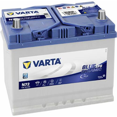 Varta Blue Dynamic (EFB) 72 Ah 760A Asia J+ akkumulátor