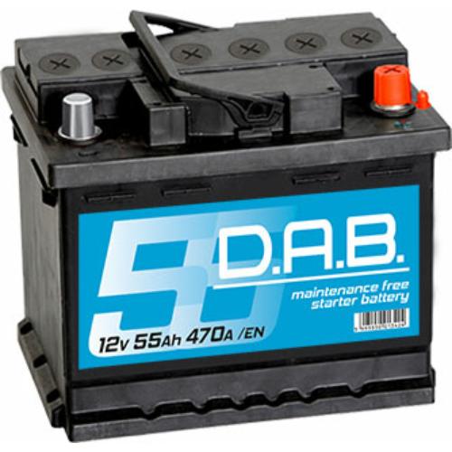 DAB 12V 55Ah 470A jobb+ akkumulátor