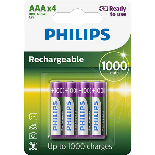 Philips Ready to use AAA 1000mAh (4) tölthető elem  (R03B4RTU10/10)