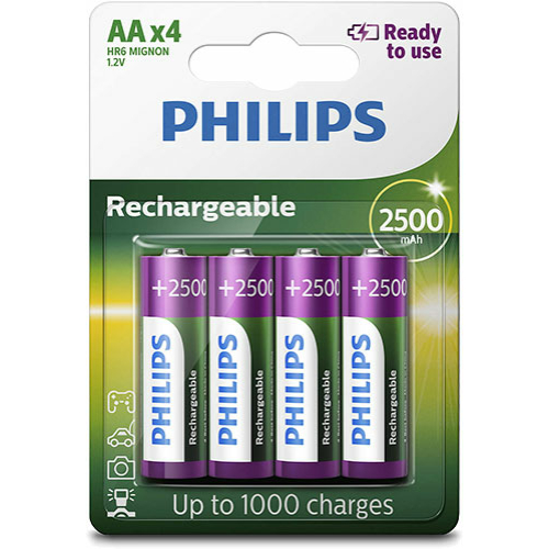 Philips Ready to use AA 2500mAh (4) tölthető elem (R6B4RTU25/10)