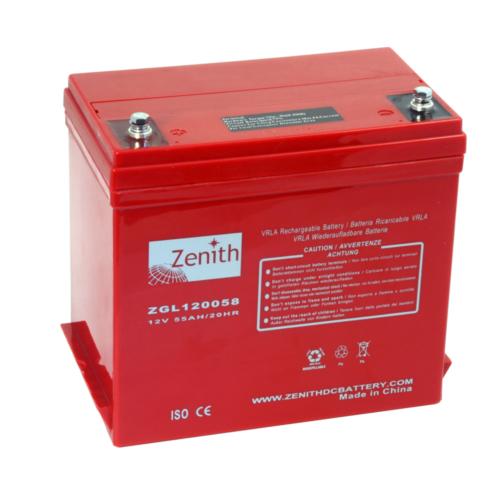 Zenith ZGL120058 12V C20/55Ah C5/48 M6 AGM akkumulátor