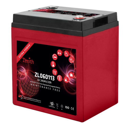 Zenith ZL060113 6V C20/240Ah C5/192 M8 AGM Deep-Cycle akkumulátor