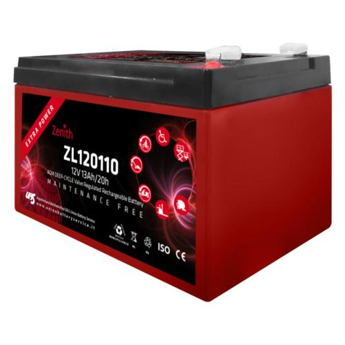 Zenith ZL120110 12V C20/13Ah C5/11 F2 AGM Deep-Cycle akkumulátor